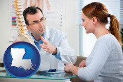 louisiana map icon and a chiropractic clinic